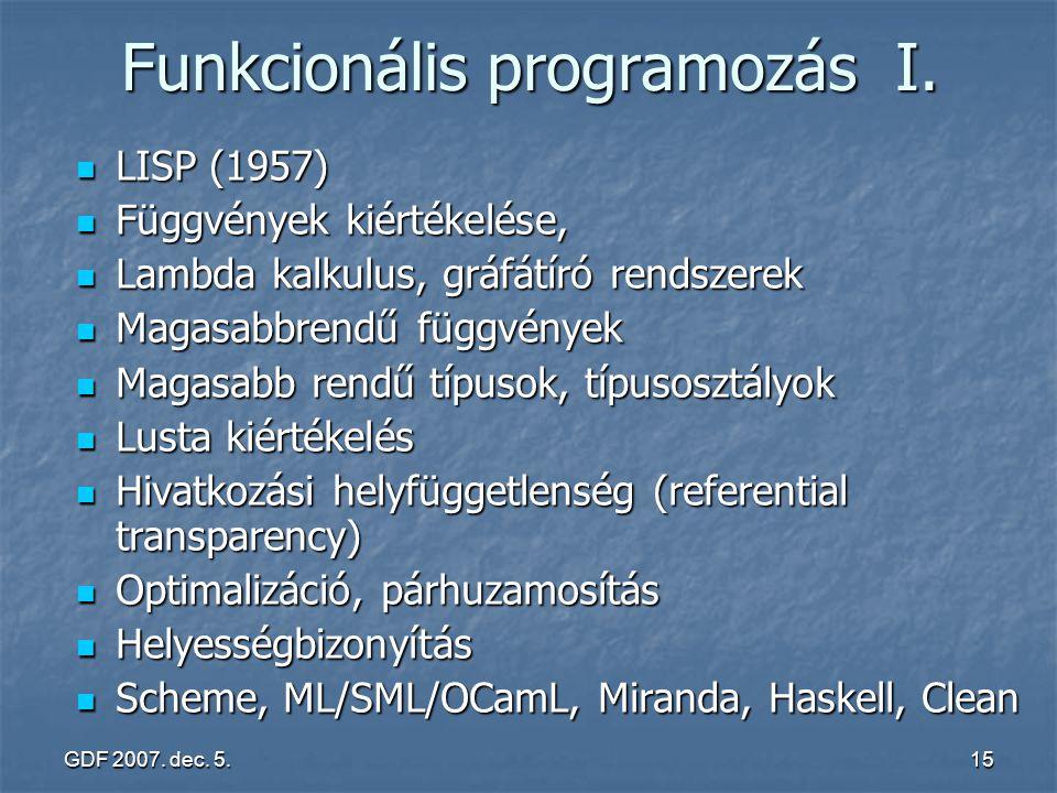 GDF 2007. dec. 5.15 Funkcionális programozás I. LISP (1957) LISP (1957) Függvények kiértékelése, Függvények kiértékelése, Lambda kalkulus, gráfátíró r