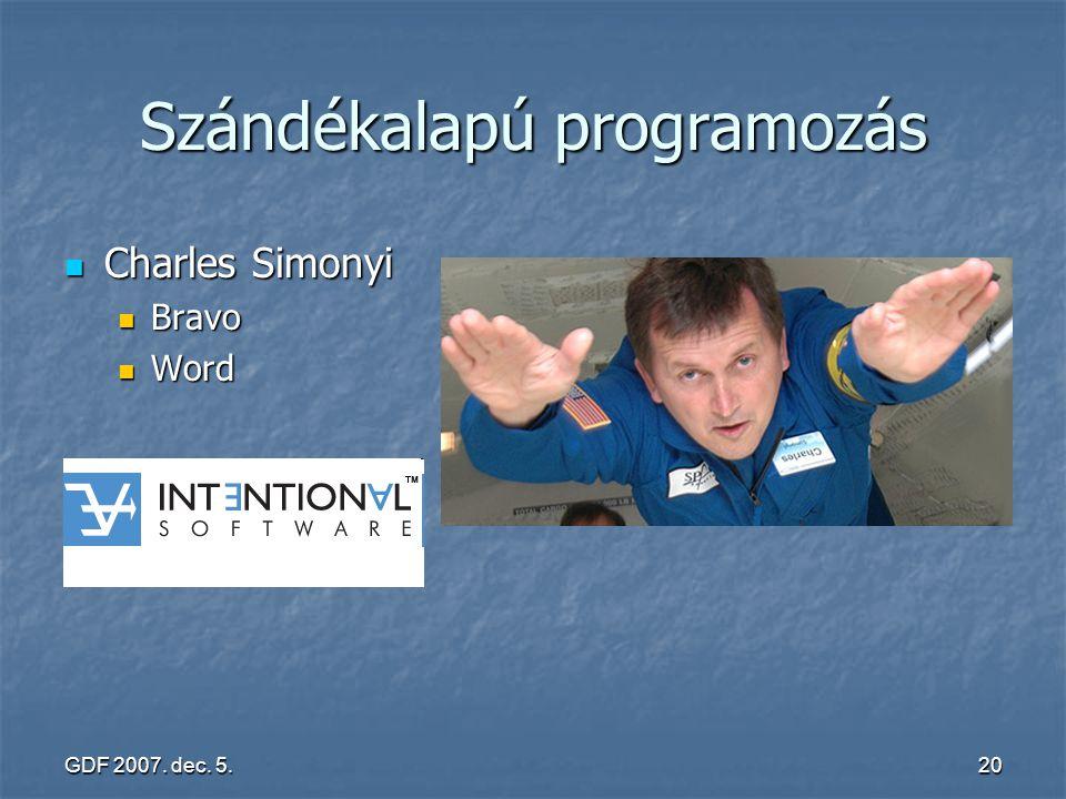 GDF 2007. dec. 5.20 Szándékalapú programozás Charles Simonyi Charles Simonyi Bravo Bravo Word Word