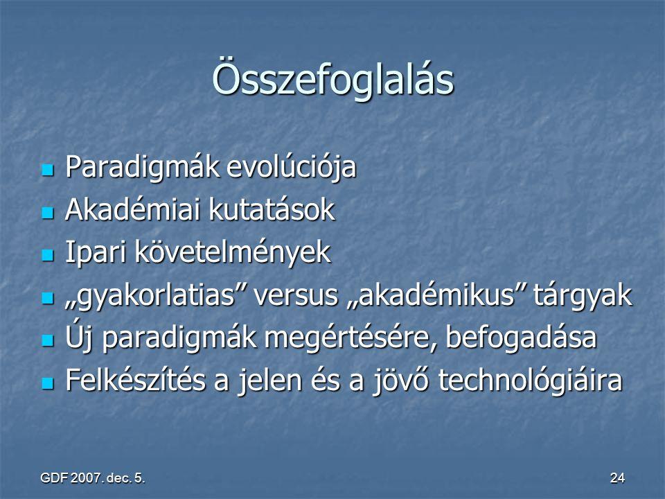 GDF 2007. dec. 5.24 Összefoglalás Paradigmák evolúciója Paradigmák evolúciója Akadémiai kutatások Akadémiai kutatások Ipari követelmények Ipari követe
