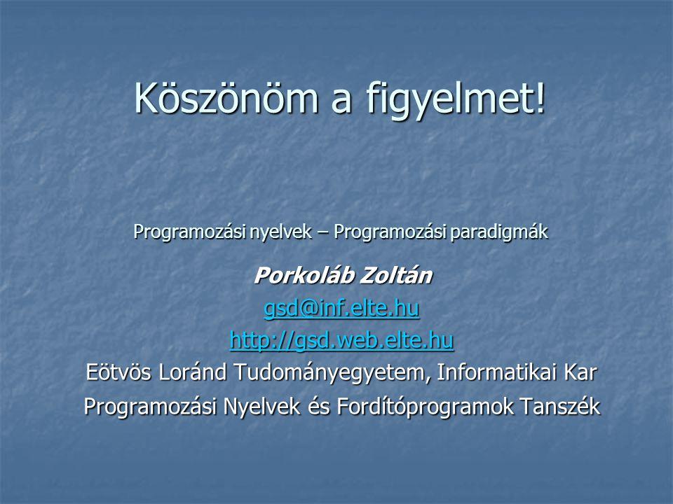 Köszönöm a figyelmet! Programozási nyelvek – Programozási paradigmák Porkoláb Zoltán gsd@inf.elte.hu http://gsd.web.elte.hu Eötvös Loránd Tudományegye