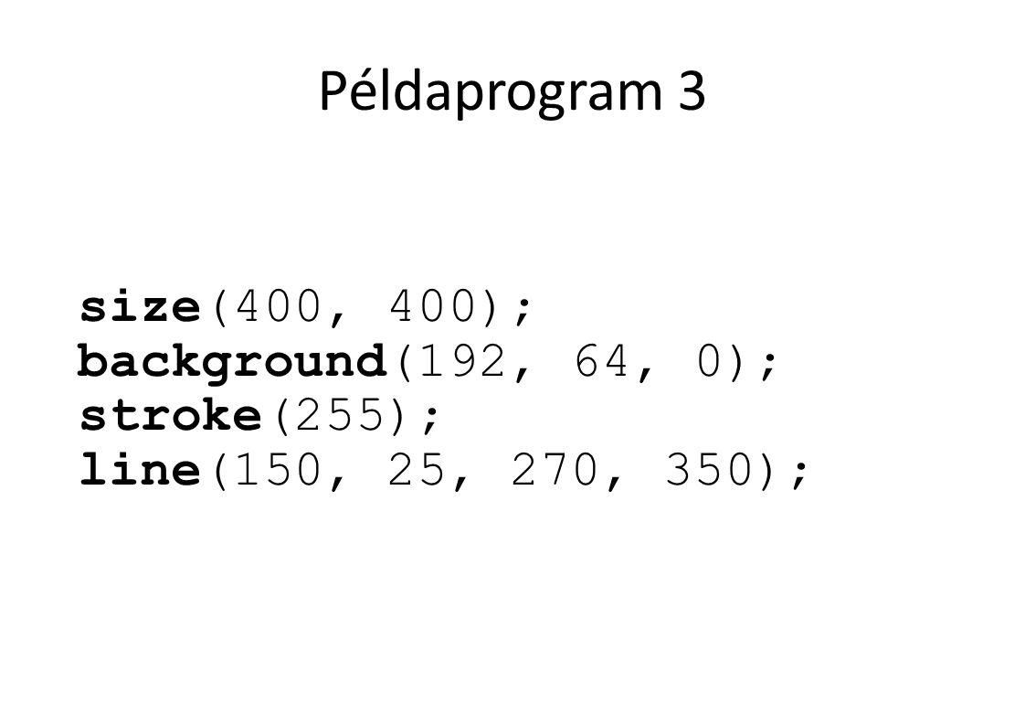 Példaprogram 3 size(400, 400); background(192, 64, 0); stroke(255); line(150, 25, 270, 350);