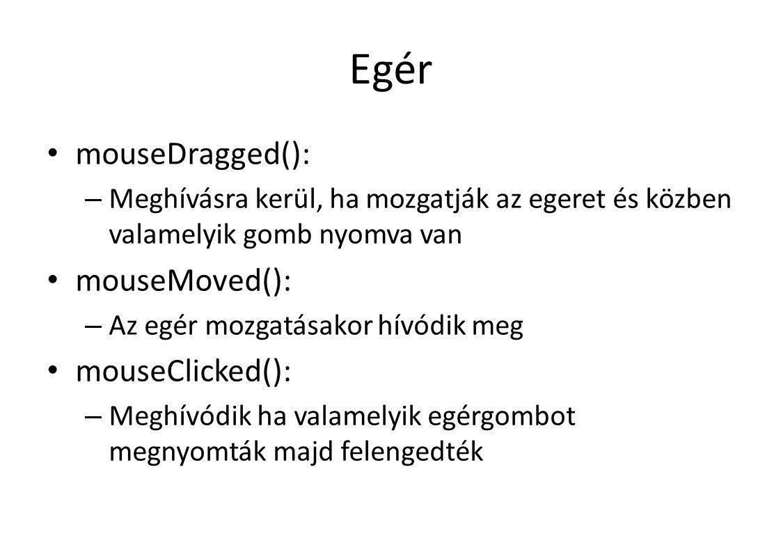 Egér mouseDragged(): – Meghívásra kerül, ha mozgatják az egeret és közben valamelyik gomb nyomva van mouseMoved(): – Az egér mozgatásakor hívódik meg mouseClicked(): – Meghívódik ha valamelyik egérgombot megnyomták majd felengedték