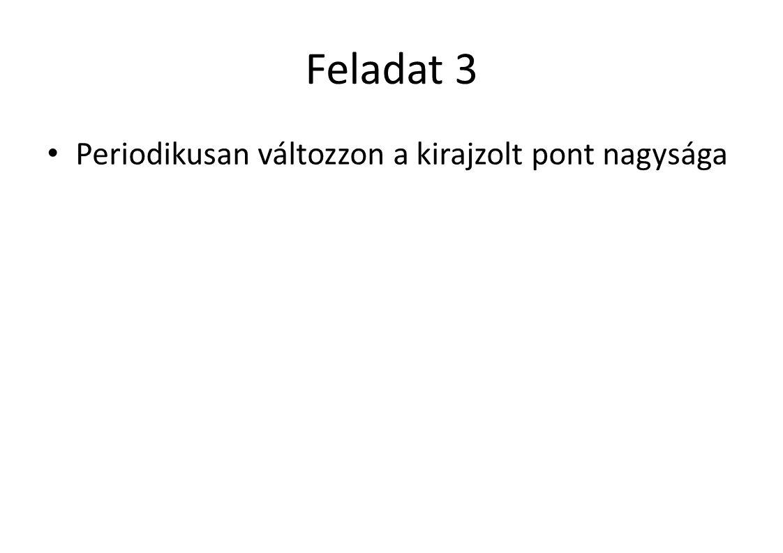 Feladat 3 Periodikusan változzon a kirajzolt pont nagysága