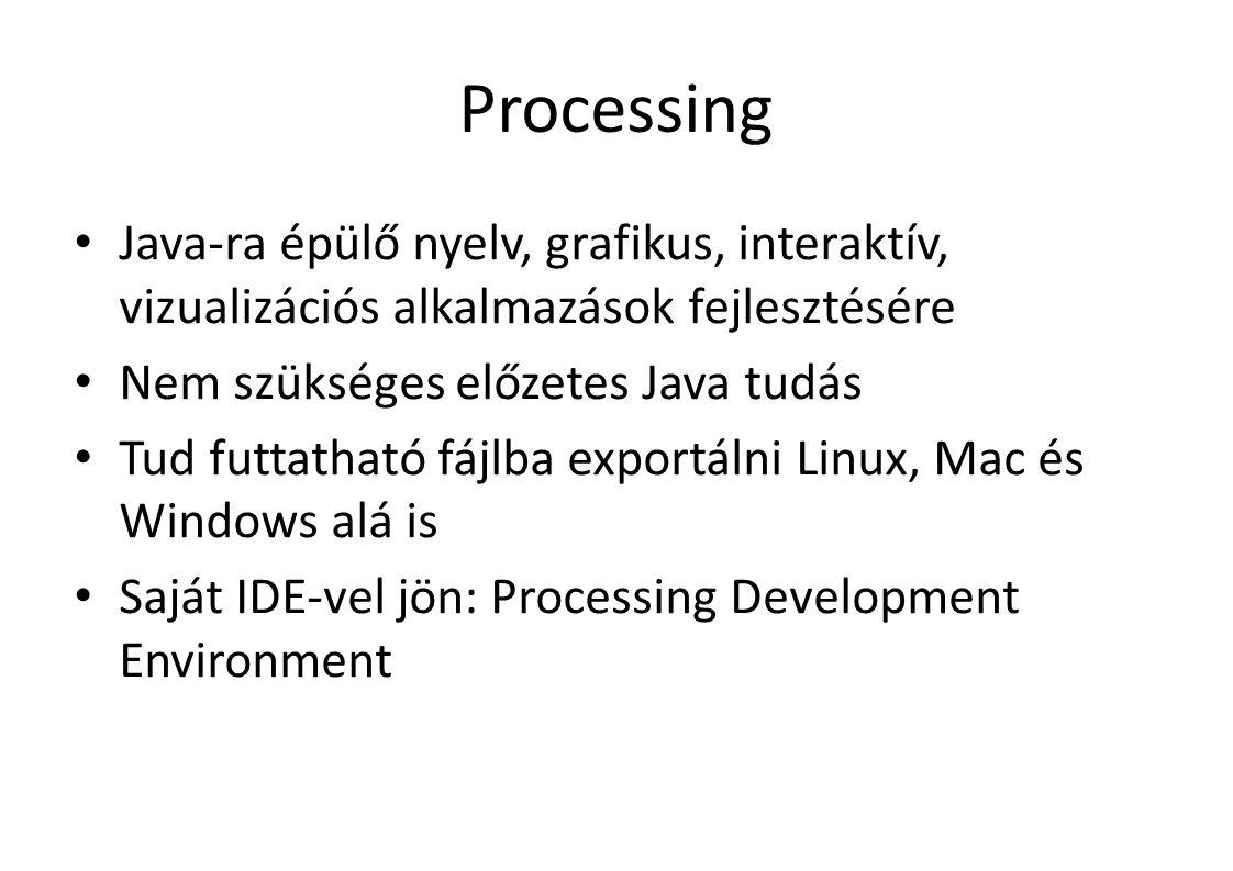 Egér változók mouseButton: – melyik egérgomb van lenyomva – LEFT, RIGHT, CENTER mousePressed: – Változó, true, ha le van nyomva egy egérgomb pmouseX, pmouseY: – Az X és Y irányú elmozdulás mértéke a legutóbbi pozícióhoz képest – Más a draw() és más az egér callback függvényekben!