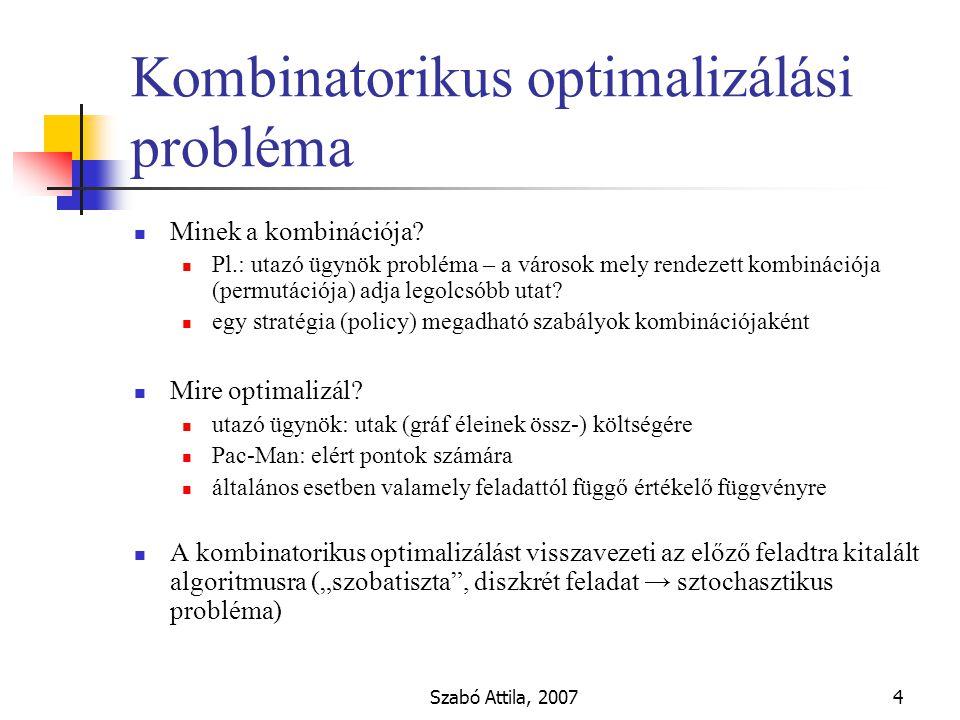 Szabó Attila, 20074 Kombinatorikus optimalizálási probléma Minek a kombinációja.