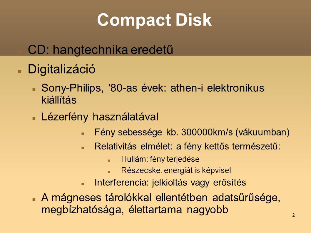 2 Compact Disk CD: hangtechnika eredetű Digitalizáció Sony-Philips, 80-as évek: athen-i elektronikus kiállítás Lézerfény használatával Fény sebessége kb.