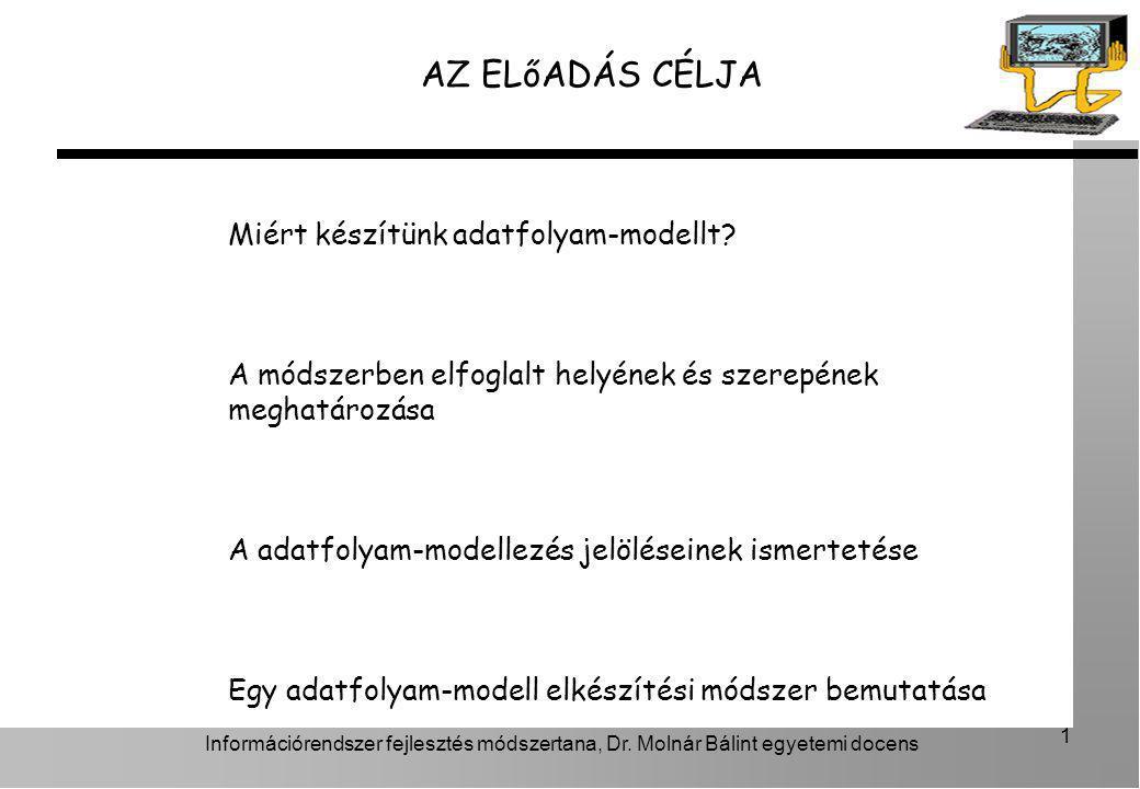 Információrendszer fejlesztés módszertana, Dr. Molnár Bálint egyetemi docens 1 AZ ELőADÁS CÉLJA Miért készítünk adatfolyam-modellt? A módszerben elfog