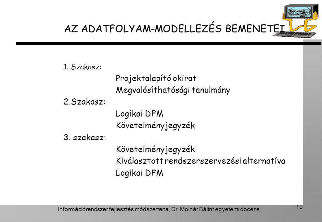 Információrendszer fejlesztés módszertana, Dr. Molnár Bálint egyetemi docens 10 1. Szakasz: Projektalapító okirat Megvalósíthatósági tanulmány 2.Szaka