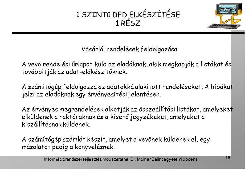 Információrendszer fejlesztés módszertana, Dr. Molnár Bálint egyetemi docens 18 1 SZINTű DFD ELKÉSZÍTÉSE 1.RÉSZ Vásárlói rendelések feldolgozása A vev