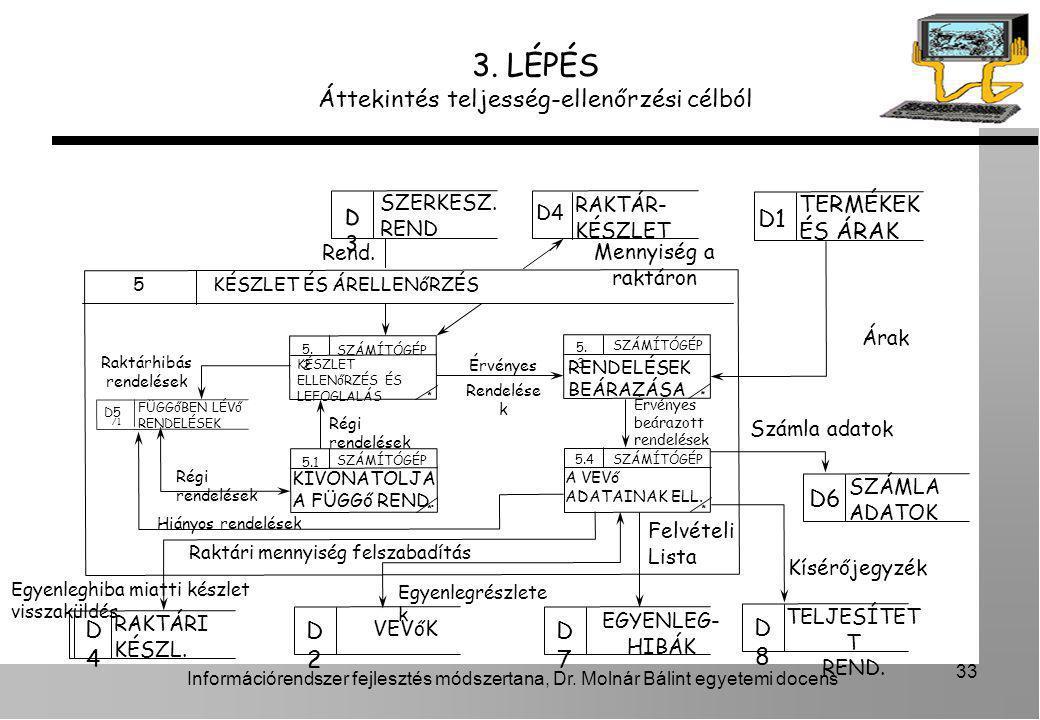 Információrendszer fejlesztés módszertana, Dr. Molnár Bálint egyetemi docens 33 3. LÉPÉS Áttekintés teljesség-ellenőrzési célból KÉSZLET ÉS ÁRELLENőRZ