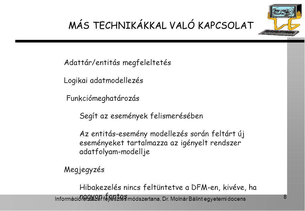 Információrendszer fejlesztés módszertana, Dr. Molnár Bálint egyetemi docens 8 MÁS TECHNIKÁKKAL VALÓ KAPCSOLAT Adattár/entitás megfeleltetés Logikai a