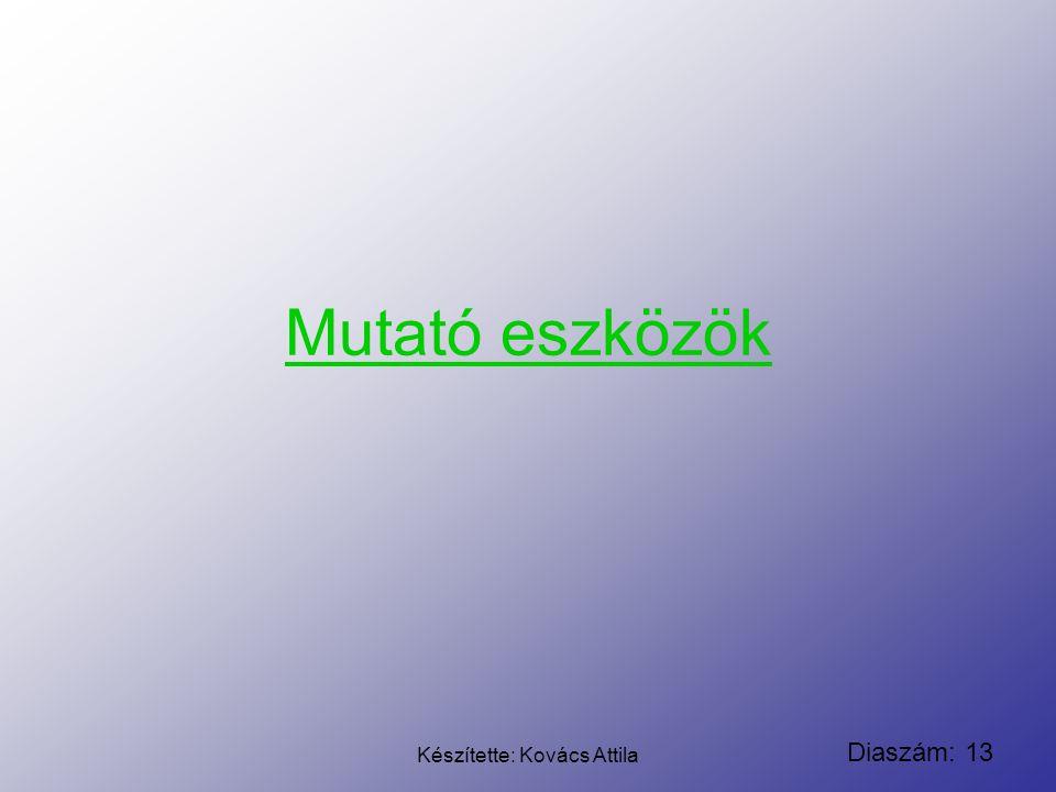 Diaszám: 13 Készítette: Kovács Attila Mutató eszközök
