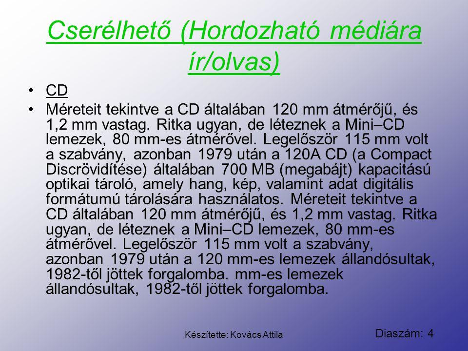 Diaszám: 4 Készítette: Kovács Attila Cserélhető (Hordozható médiára ír/olvas) CD Méreteit tekintve a CD általában 120 mm átmérőjű, és 1,2 mm vastag. R