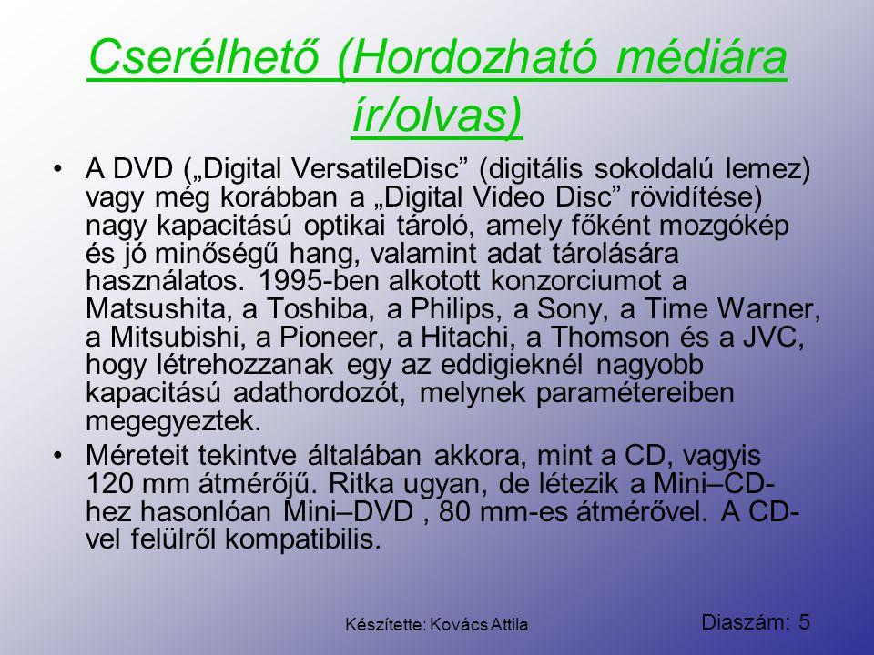 """Diaszám: 5 Készítette: Kovács Attila Cserélhető (Hordozható médiára ír/olvas) A DVD (""""Digital VersatileDisc"""" (digitális sokoldalú lemez) vagy még korá"""