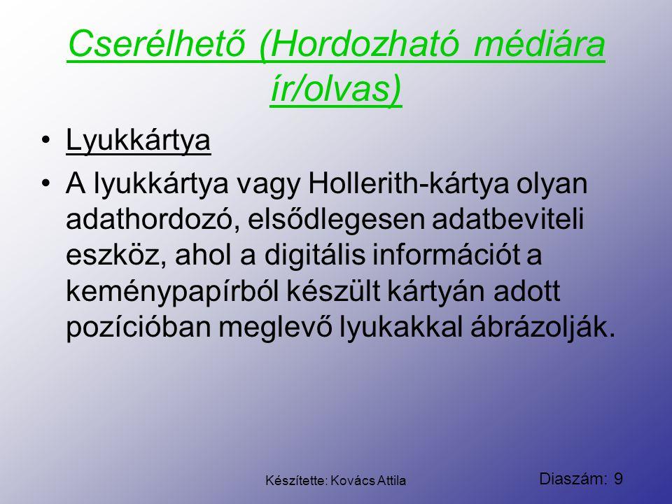 Diaszám: 9 Készítette: Kovács Attila Cserélhető (Hordozható médiára ír/olvas) Lyukkártya A lyukkártya vagy Hollerith-kártya olyan adathordozó, elsődle