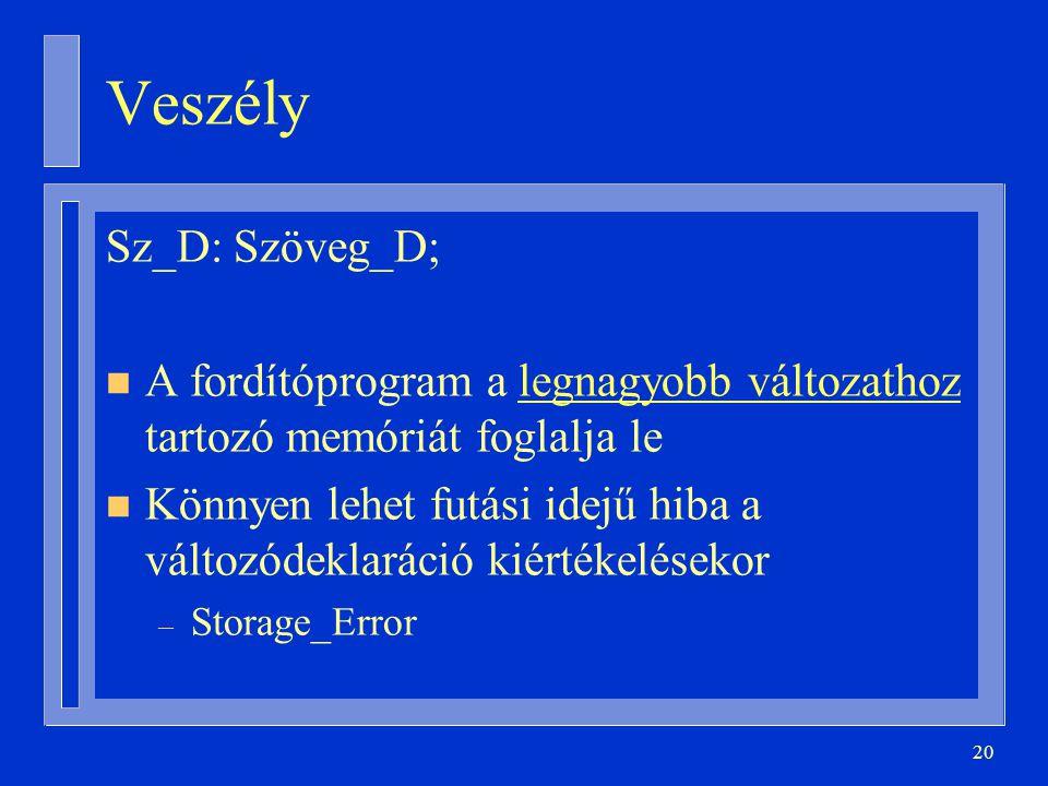 20 Veszély Sz_D: Szöveg_D; n A fordítóprogram a legnagyobb változathoz tartozó memóriát foglalja le n Könnyen lehet futási idejű hiba a változódeklaráció kiértékelésekor – Storage_Error