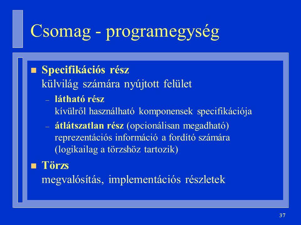 37 Csomag - programegység n Specifikációs rész külvilág számára nyújtott felület – látható rész kívülről használható komponensek specifikációja – átlátszatlan rész (opcionálisan megadható) reprezentációs információ a fordító számára (logikailag a törzshöz tartozik) n Törzs megvalósítás, implementációs részletek