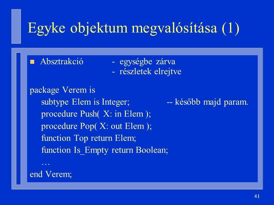 41 Egyke objektum megvalósítása (1) n Absztrakció- egységbe zárva - részletek elrejtve package Verem is subtype Elem is Integer;-- később majd param.