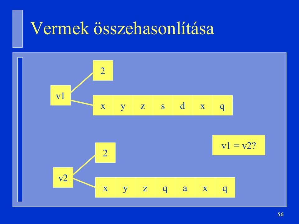 56 Vermek összehasonlítása v1 xyzsdxq 2 v2 xyzqaxq 2 v1 = v2?