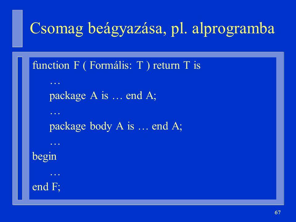 67 Csomag beágyazása, pl.