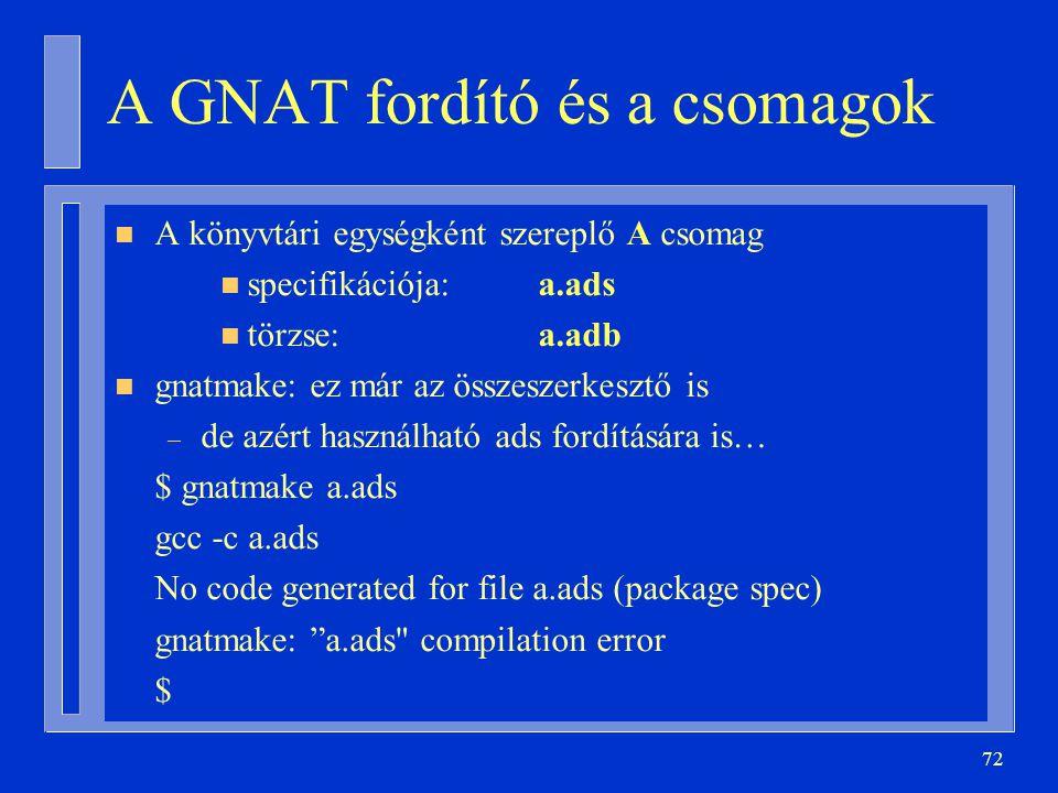 72 A GNAT fordító és a csomagok n A könyvtári egységként szereplő A csomag n specifikációja:a.ads n törzse:a.adb n gnatmake: ez már az összeszerkesztő is – de azért használható ads fordítására is… $ gnatmake a.ads gcc -c a.ads No code generated for file a.ads (package spec) gnatmake: a.ads compilation error $