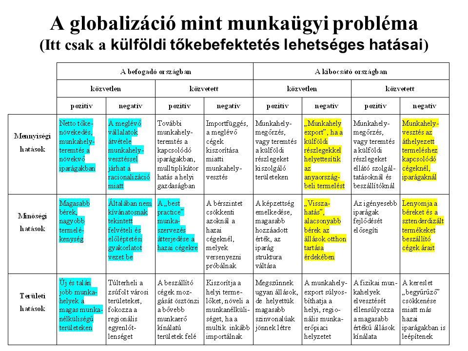 A globalizáció mint munkaügyi probléma (Itt csak a külföldi tőkebefektetés lehetséges hatásai )