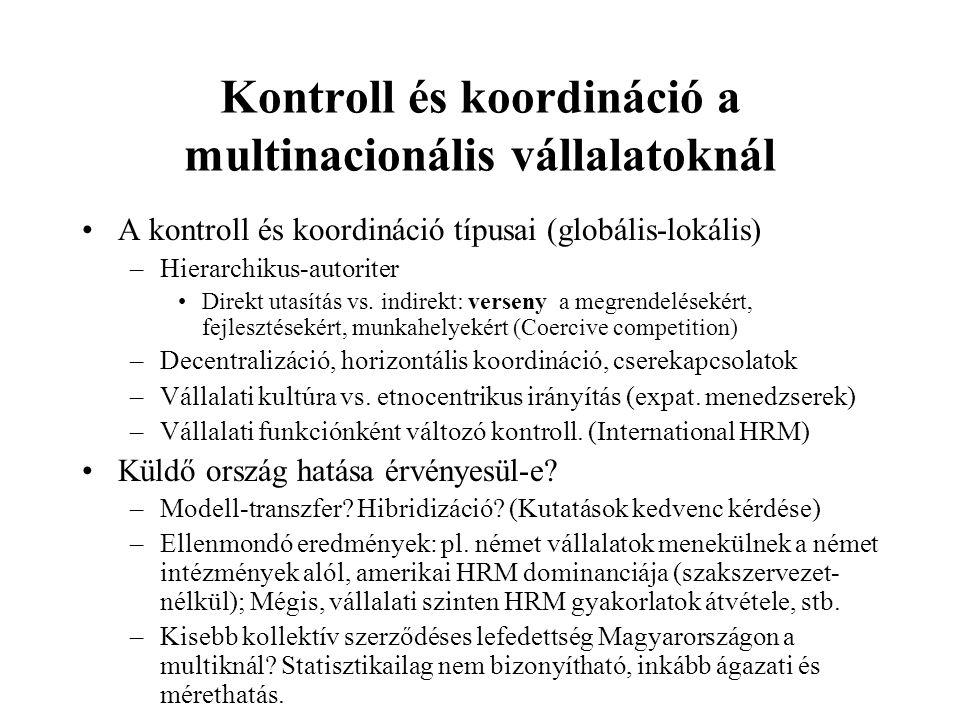 Kontroll és koordináció a multinacionális vállalatoknál A kontroll és koordináció típusai (globális-lokális) –Hierarchikus-autoriter Direkt utasítás v