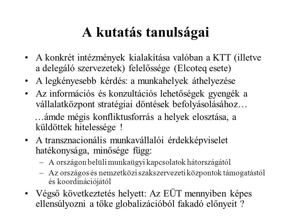 A kutatás tanulságai A konkrét intézmények kialakítása valóban a KTT (illetve a delegáló szervezetek) felelőssége (Elcoteq esete) A legkényesebb kérdé