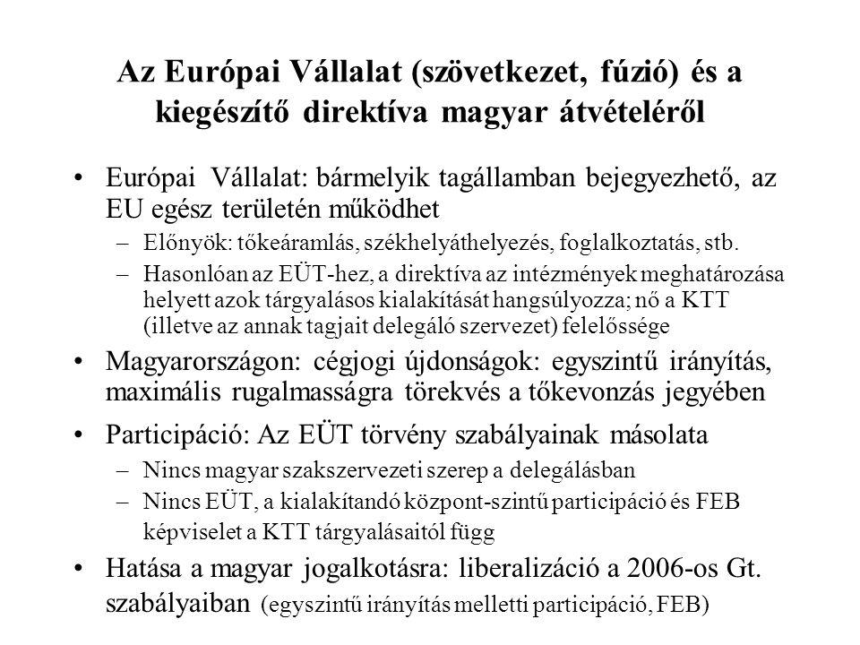 Az Európai Vállalat (szövetkezet, fúzió) és a kiegészítő direktíva magyar átvételéről Európai Vállalat: bármelyik tagállamban bejegyezhető, az EU egés