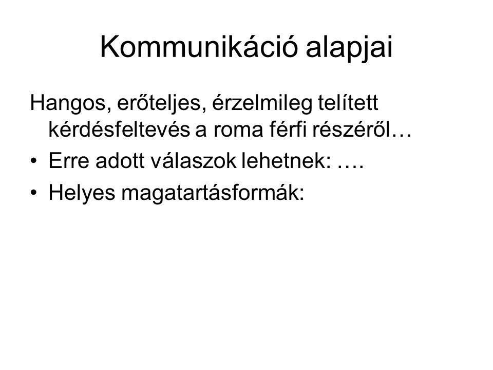 Kommunikáció alapjai Hangos, erőteljes, érzelmileg telített kérdésfeltevés a roma férfi részéről… Erre adott válaszok lehetnek: ….