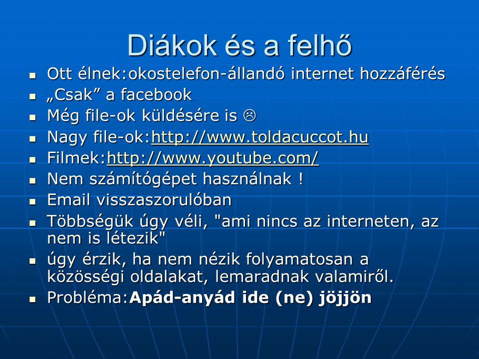 """Diákok és a felhő Ott élnek:okostelefon-állandó internet hozzáférés Ott élnek:okostelefon-állandó internet hozzáférés """"Csak a facebook """"Csak a facebook Még file-ok küldésére is  Még file-ok küldésére is  Nagy file-ok:http://www.toldacuccot.hu Nagy file-ok:http://www.toldacuccot.huhttp://www.toldacuccot.hu Filmek:http://www.youtube.com/ Filmek:http://www.youtube.com/http://www.youtube.com/ Nem számítógépet használnak ."""