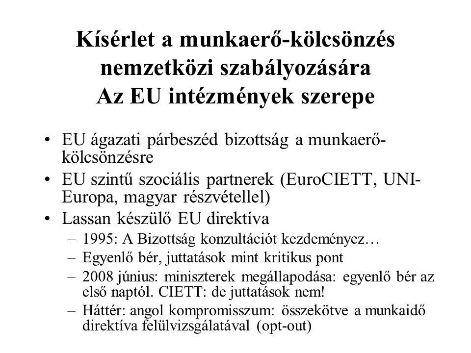 Kísérlet a munkaerő-kölcsönzés nemzetközi szabályozására Az EU intézmények szerepe EU ágazati párbeszéd bizottság a munkaerő- kölcsönzésre EU szintű s