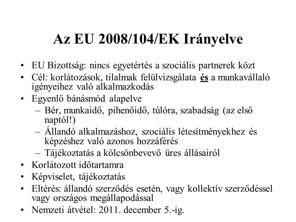 Az EU 2008/104/EK Irányelve EU Bizottság: nincs egyetértés a szociális partnerek közt Cél: korlátozások, tilalmak felülvizsgálata és a munkavállaló ig
