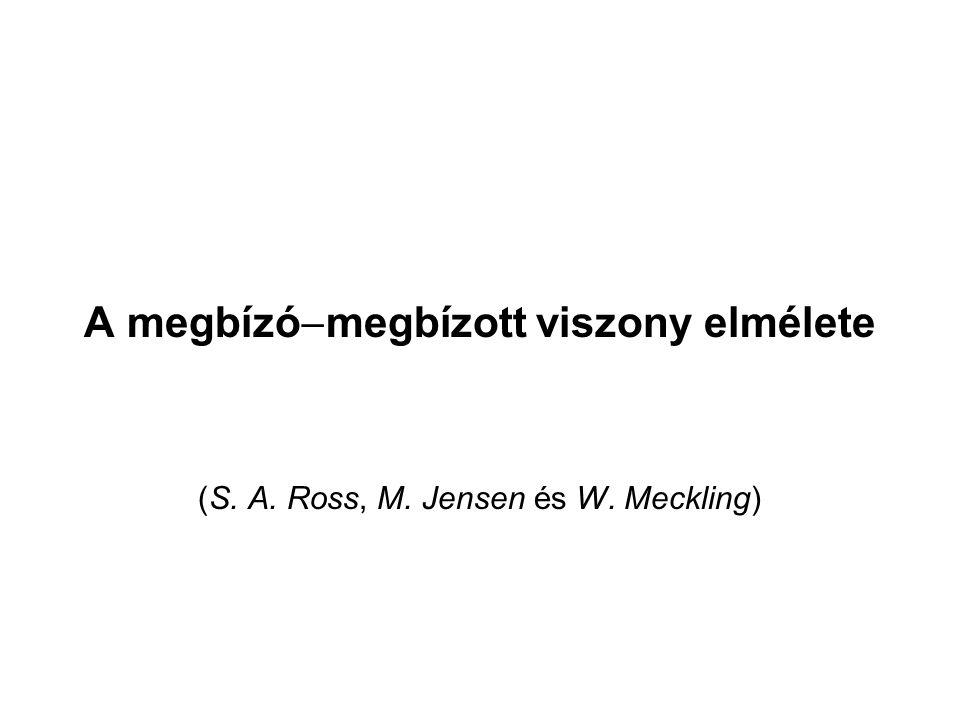 A megbízó  megbízott viszony elmélete (S. A. Ross, M. Jensen és W. Meckling)