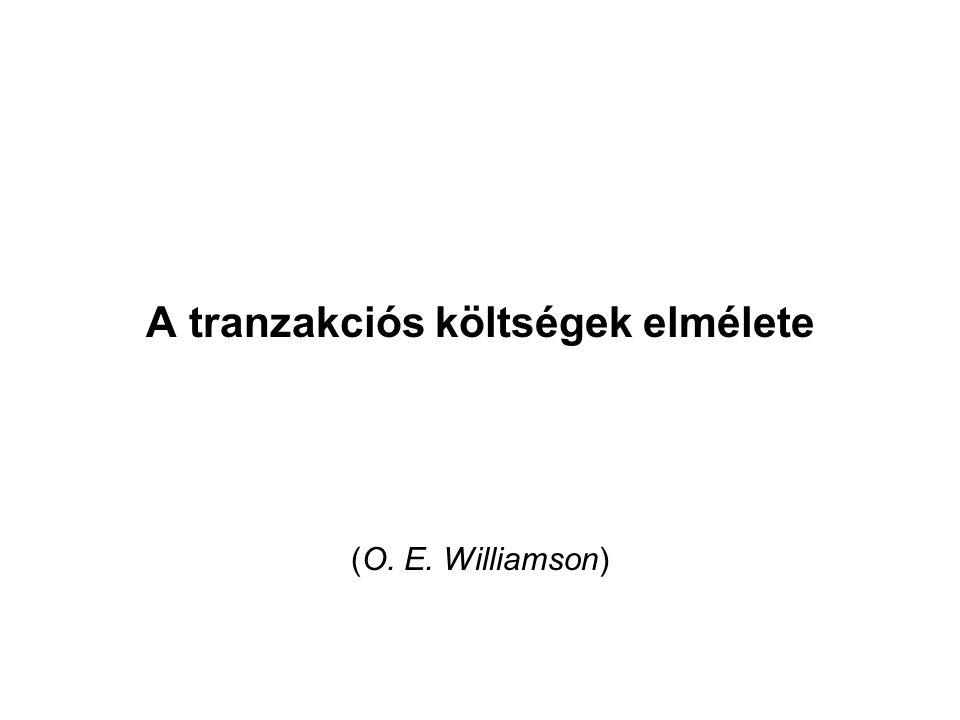 A tranzakciós költségek elmélete (O. E. Williamson)