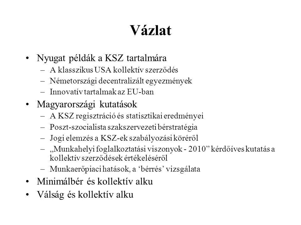 """Vázlat Nyugat példák a KSZ tartalmára –A klasszikus USA kollektív szerződés –Németországi decentralizált egyezmények –Innovatív tartalmak az EU-ban Magyarországi kutatások –A KSZ regisztráció és statisztikai eredményei –Poszt-szocialista szakszervezeti bérstratégia –Jogi elemzés a KSZ-ek szabályozási köréről –""""Munkahelyi foglalkoztatási viszonyok - 2010 kérdőíves kutatás a kollektív szerződések értékeléséről –Munkaerőpiaci hatások, a 'bérrés' vizsgálata Minimálbér és kollektív alku Válság és kollektív alku"""