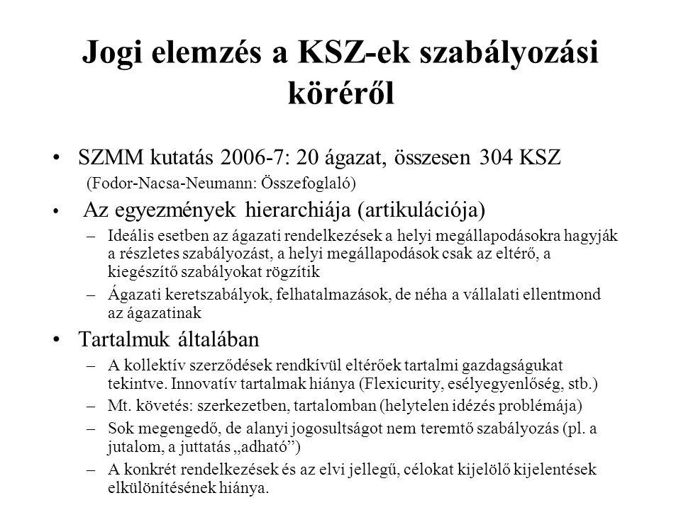 Jogi elemzés a KSZ-ek szabályozási köréről SZMM kutatás 2006-7: 20 ágazat, összesen 304 KSZ (Fodor-Nacsa-Neumann: Összefoglaló) Az egyezmények hierarchiája (artikulációja) –Ideális esetben az ágazati rendelkezések a helyi megállapodásokra hagyják a részletes szabályozást, a helyi megállapodások csak az eltérő, a kiegészítő szabályokat rögzítik –Ágazati keretszabályok, felhatalmazások, de néha a vállalati ellentmond az ágazatinak Tartalmuk általában –A kollektív szerződések rendkívül eltérőek tartalmi gazdagságukat tekintve.