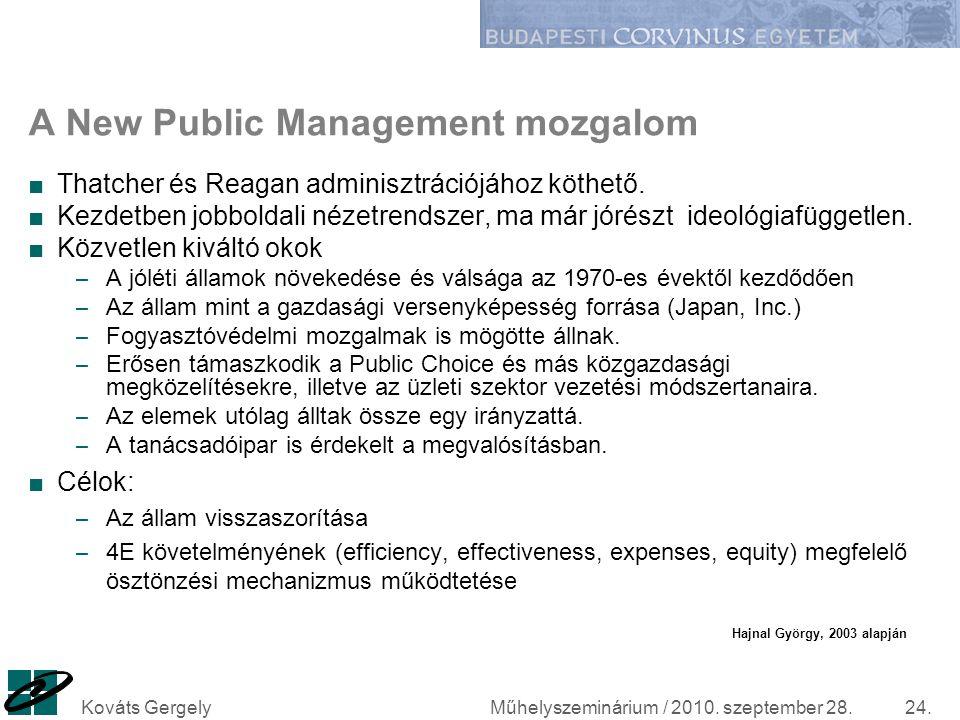 Műhelyszeminárium / 2010. szeptember 28.Kováts Gergely24. A New Public Management mozgalom ■Thatcher és Reagan adminisztrációjához köthető. ■Kezdetben