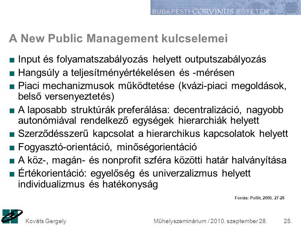 Műhelyszeminárium / 2010. szeptember 28.Kováts Gergely25. A New Public Management kulcselemei ■Input és folyamatszabályozás helyett outputszabályozás