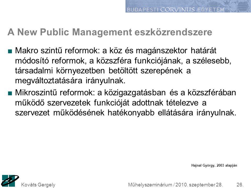 Műhelyszeminárium / 2010. szeptember 28.Kováts Gergely26. A New Public Management eszközrendszere ■Makro szintű reformok: a köz és magánszektor határá