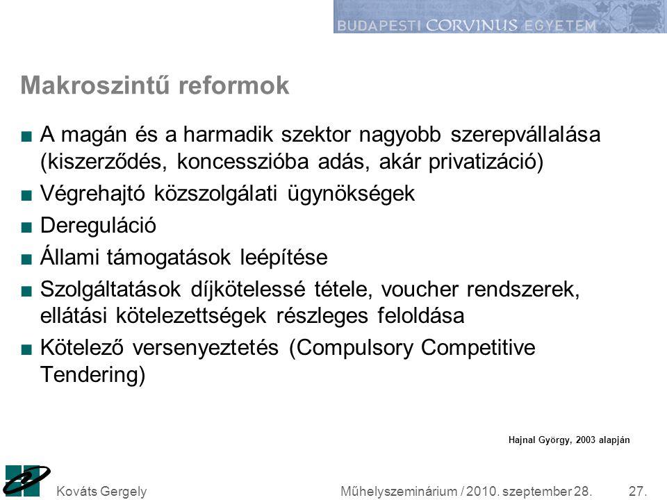 Műhelyszeminárium / 2010. szeptember 28.Kováts Gergely27. Makroszintű reformok ■A magán és a harmadik szektor nagyobb szerepvállalása (kiszerződés, ko