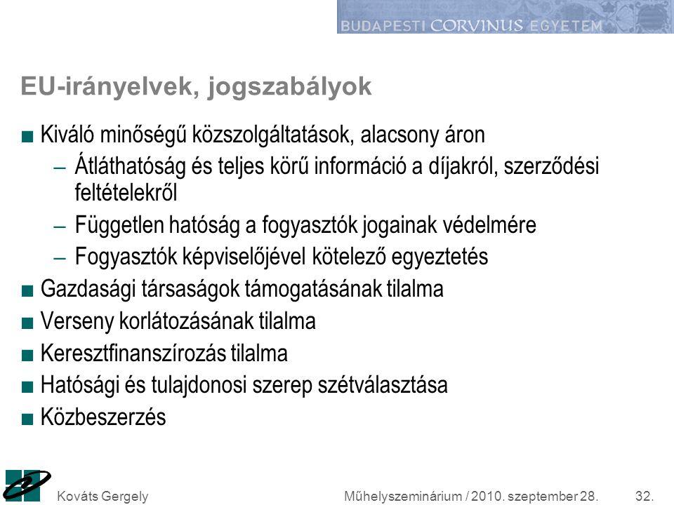 Műhelyszeminárium / 2010. szeptember 28.Kováts Gergely32. EU-irányelvek, jogszabályok ■ Kiváló minőségű közszolgáltatások, alacsony áron – Átláthatósá