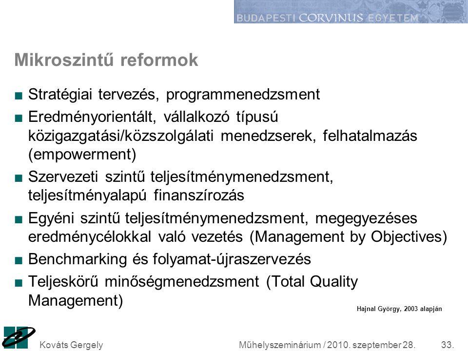 Műhelyszeminárium / 2010. szeptember 28.Kováts Gergely33. Mikroszintű reformok ■Stratégiai tervezés, programmenedzsment ■Eredményorientált, vállalkozó