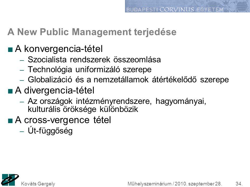 Műhelyszeminárium / 2010. szeptember 28.Kováts Gergely34. A New Public Management terjedése ■A konvergencia-tétel – Szocialista rendszerek összeomlása