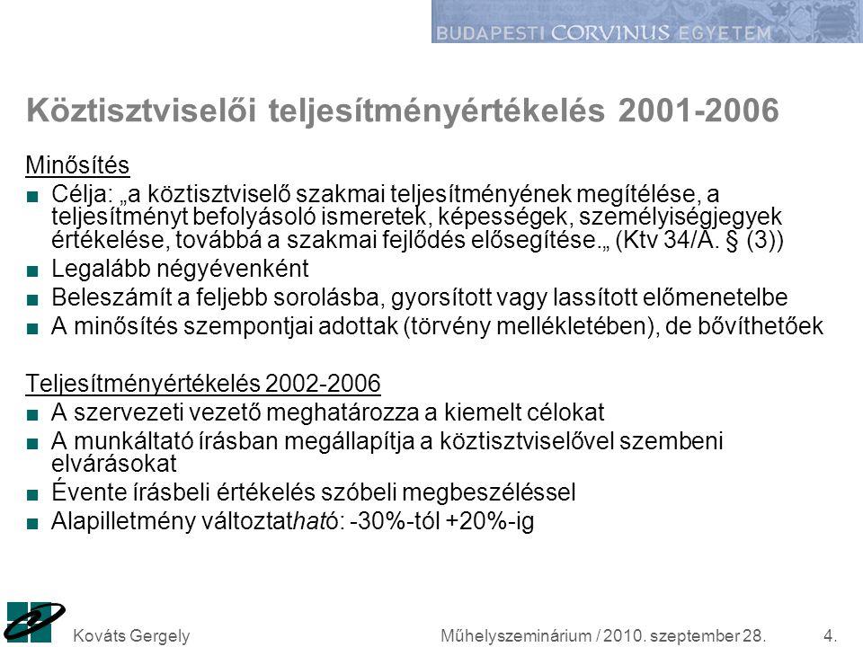 """Műhelyszeminárium / 2010. szeptember 28.Kováts Gergely4. Köztisztviselői teljesítményértékelés 2001-2006 Minősítés ■Célja: """"a köztisztviselő szakmai t"""