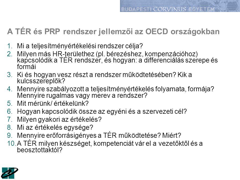 A TÉR és PRP rendszer jellemzői az OECD országokban 1.Mi a teljesítményértékelési rendszer célja? 2.Milyen más HR-területhez (pl. bérezéshez, kompenzá