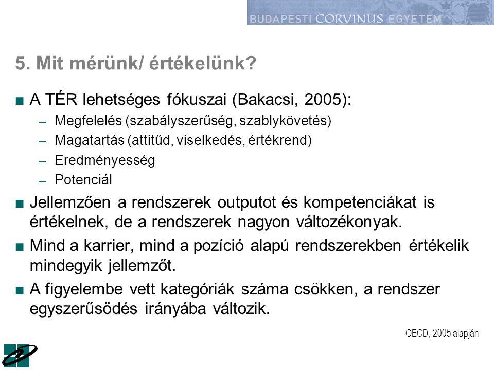 5. Mit mérünk/ értékelünk? ■A TÉR lehetséges fókuszai (Bakacsi, 2005): – Megfelelés (szabályszerűség, szablykövetés) – Magatartás (attitűd, viselkedés