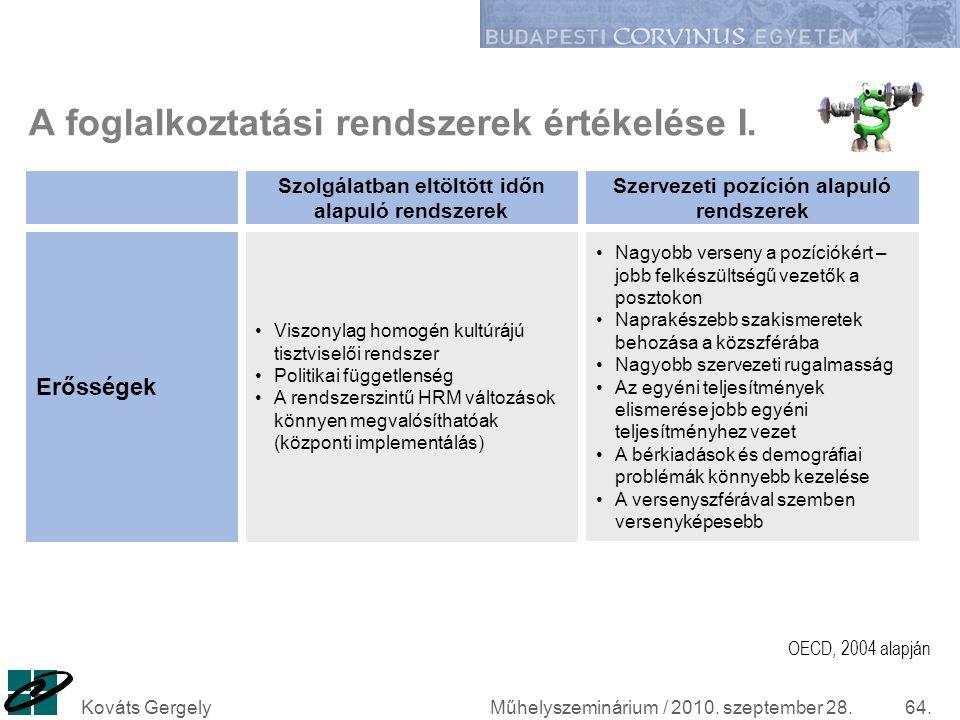 Műhelyszeminárium / 2010. szeptember 28.Kováts Gergely64. A foglalkoztatási rendszerek értékelése I. Viszonylag homogén kultúrájú tisztviselői rendsze