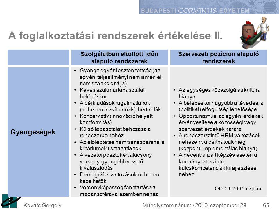 Műhelyszeminárium / 2010. szeptember 28.Kováts Gergely65. A foglalkoztatási rendszerek értékelése II. Gyenge egyéni ösztönzöttség (az egyéni teljesítm