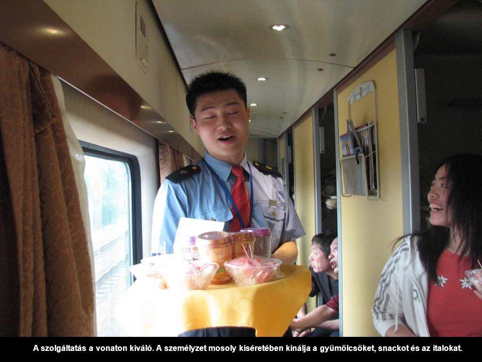 A szolgáltatás a vonaton kiváló. A személyzet mosoly kiséretében kinálja a gyümölcsöket, snackot és az italokat.